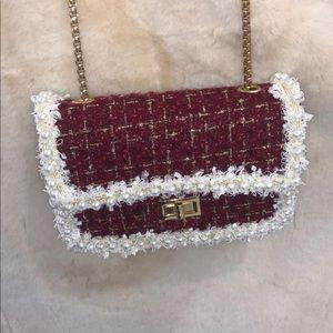 Burgundy winter crossbody purse